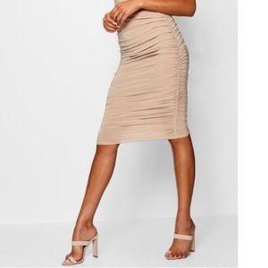 Boohoo ruched tan skirt
